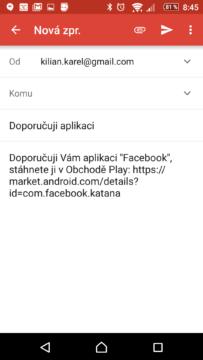 Sdílení odkazu na aplikaci