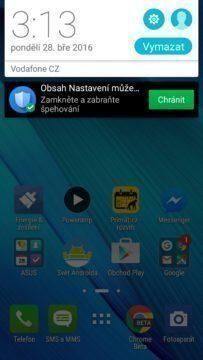Asus Zenfone Max notifikace