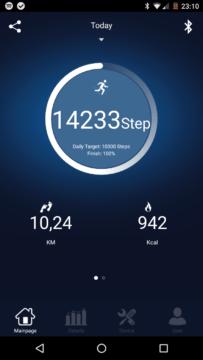 Elephone W2 – aplikace – úvodní obrazovka, počet kroků