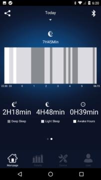 Elephone W2 – aplikace – graf spánku