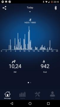 Elephone W2 – aplikace – hodinové zobrazení aktivity
