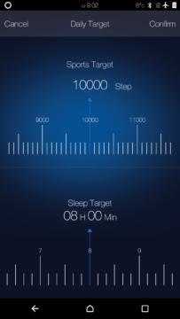 Elephone W2 – aplikace – nastavení cílů