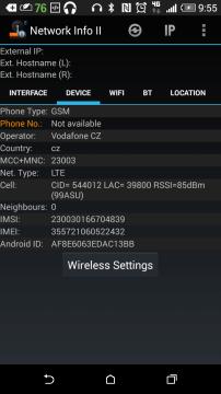 HTC Desire 820 - LTE, network info