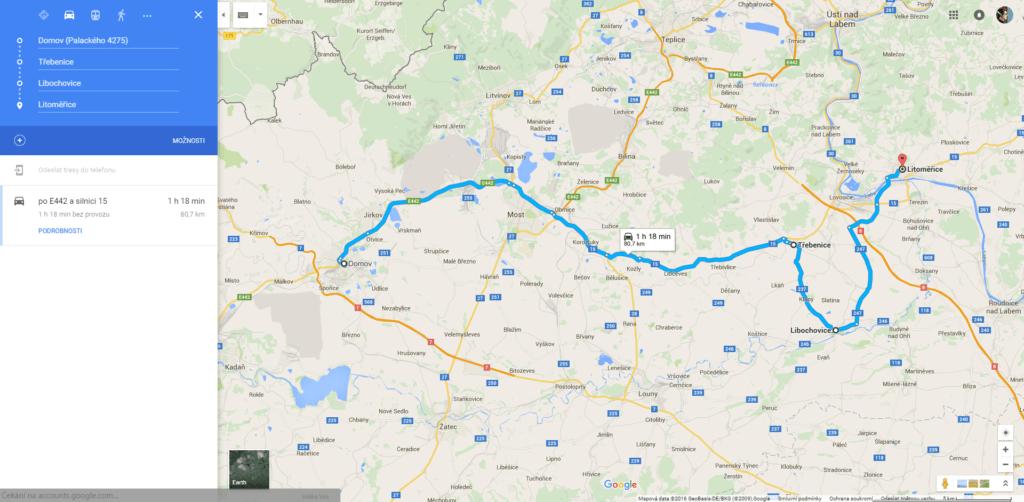 Mapy Google - trip