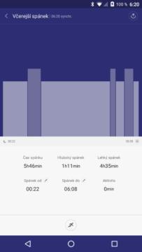 Xiaomi MiBand 1S – graf spánkové aktivity
