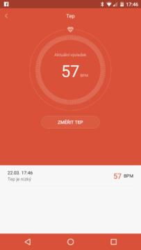 Xiaomi MiBand 1S – první měření tepu