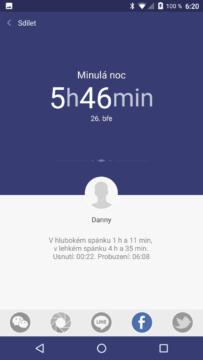 Xiaomi MiBand 1S – sdílení spánkové aktivity