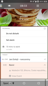 Yahoo Aviate Launcher – levá obrazovka ráno