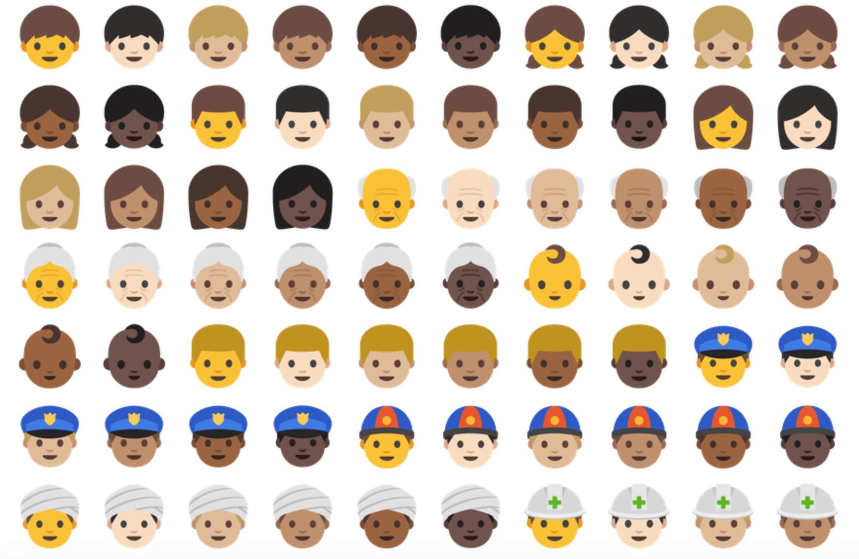 emoji unicode 9 - modifikátor barvy pleti