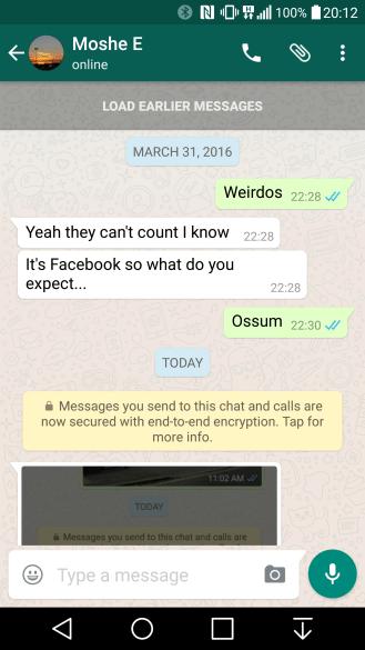WhatsApp - šifrování konverzací