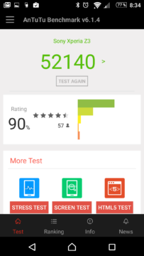 Výsledky v AnTuTu před zahájením testu