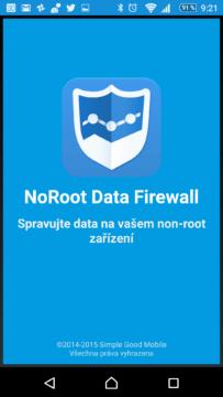 NoRoot Data Firewall: úvodní obrazovka