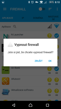 Vypnutí firewallu