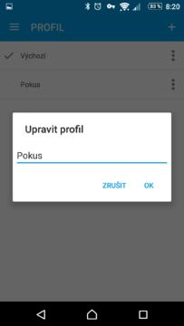 Přejmenování profilu