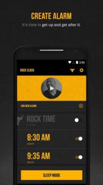 Dwayne Johnson app – vytvoření alarmu