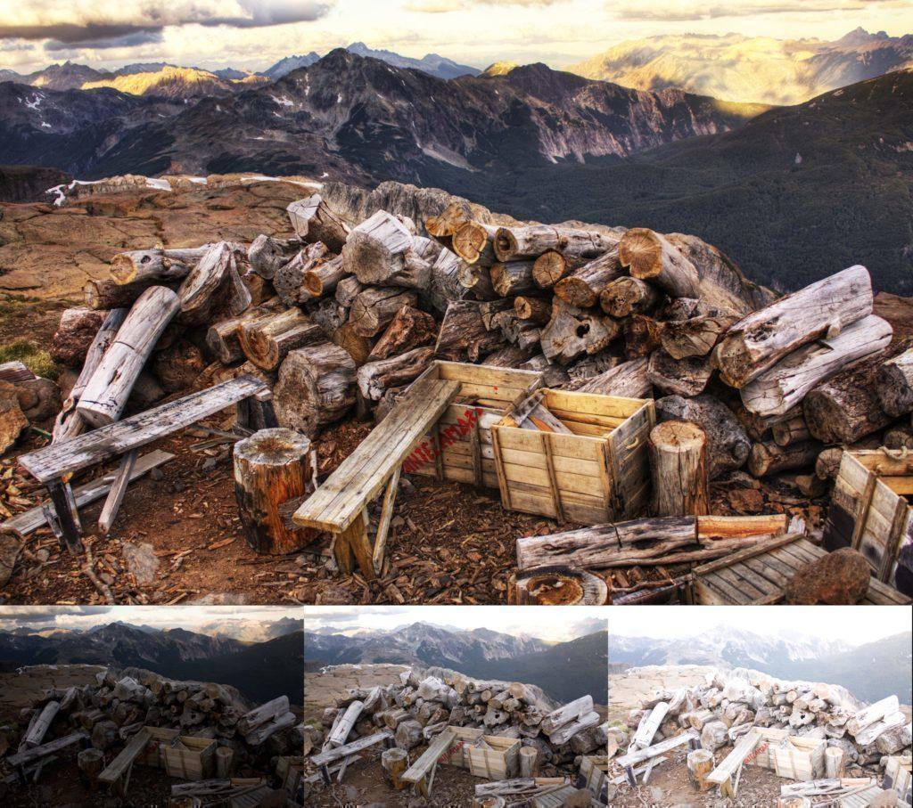 Dole tři obrázky s různými expozicemi, nahoře výsledek