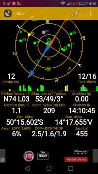 Huawei P8 - GPS satelity