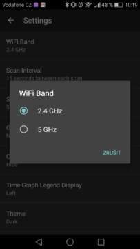 WiFi Analyzer (open-source) – výpis sítí 2