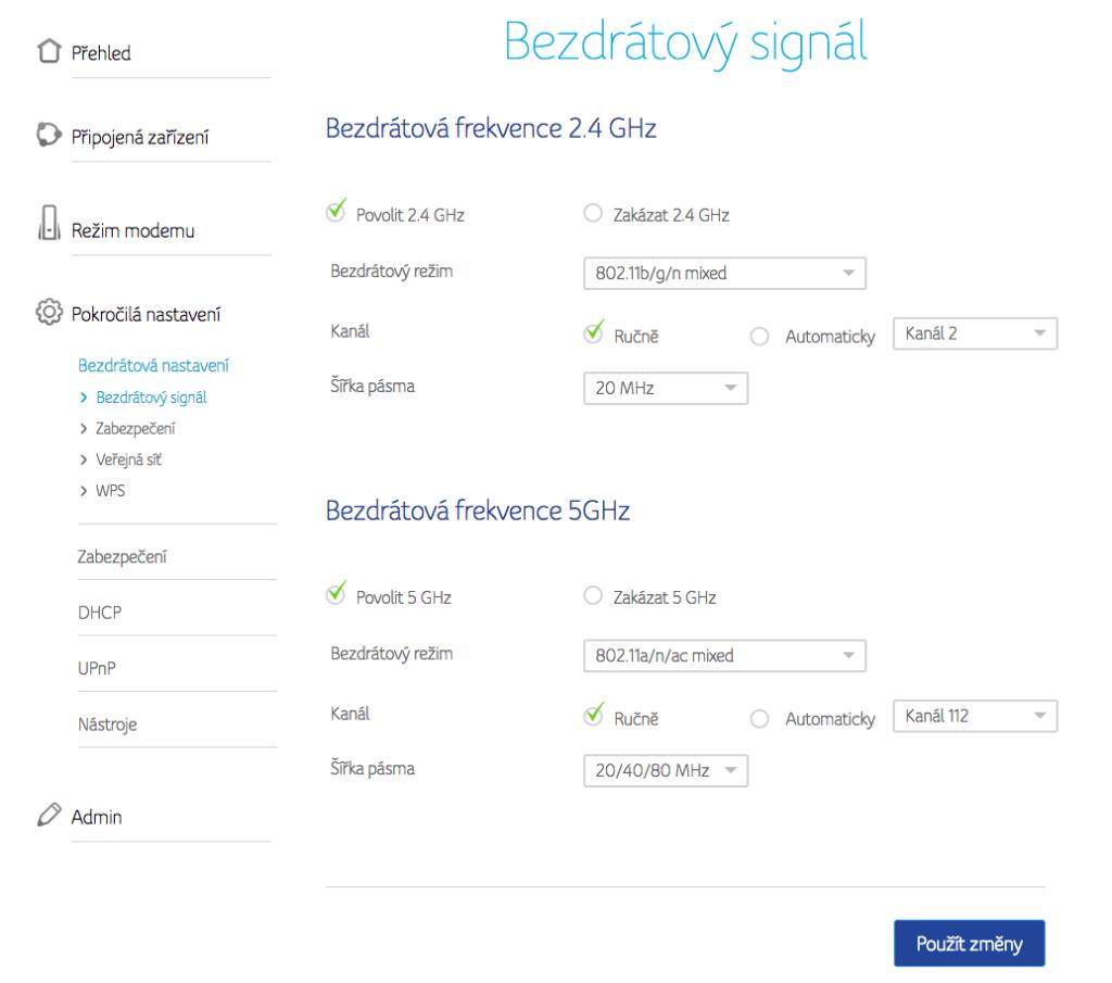 WiFi Analyzer (open-source) - změna kanálu