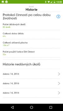 iRobot Home – protokol historie za celou dobu