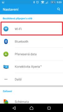 Nastavení Wi-Fi