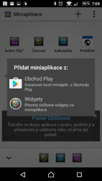Přidání miniaplikace