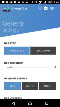 Prostředí aplikace Energy Bar