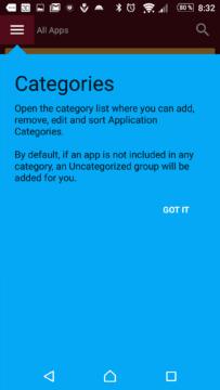 Kategorie v seznamu aplikací