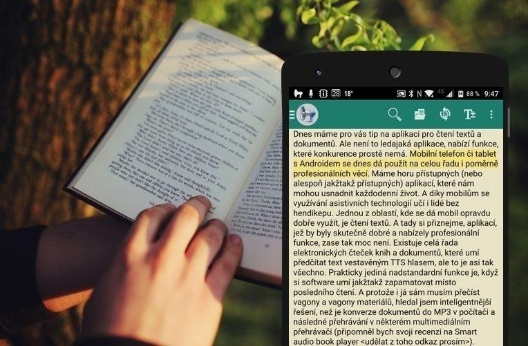 APLIKACE voice reader čtení na androidu