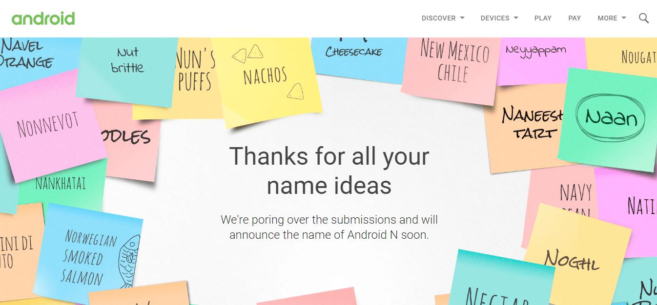 Android N - hlasování o jménu