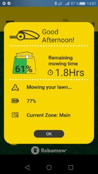 Robomow – Aplikace – info kolik zbývá práce 2