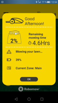 Robomow – Aplikace – info kolik zbývá práce