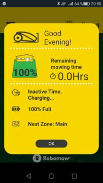 Robomow – Aplikace – info kolik zbývá práce 3 – hotovo