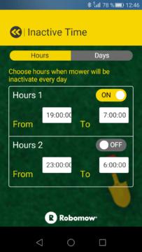 Robomow – Aplikace – nastavení neaktivních časů