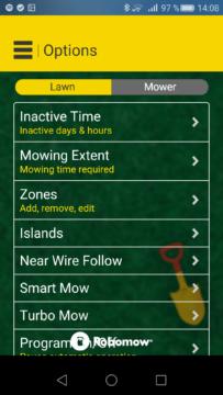 Robomow – Aplikace – nastavení trávníku