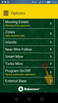Robomow – Aplikace – nastavení trávnku 2