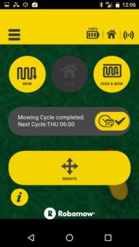 Robomow – Aplikace – výchozí obrazovka