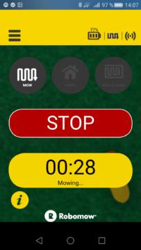 Robomow – Aplikace – výchozí obrazovka při sekání