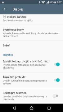 Sony Xperia X nastavení displeje 2
