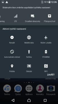 Sony Xperia X přepínače