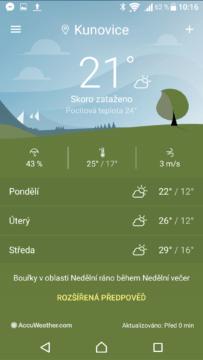 Sony Xperia X počasí