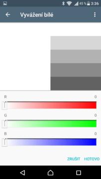 Sony Xperia X vyvážení bílé