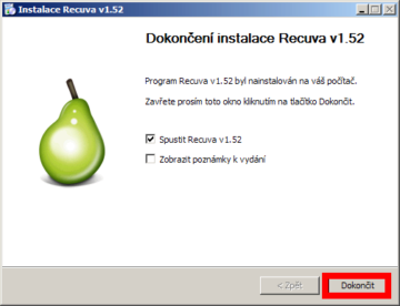 Instalace aplikace Recuva