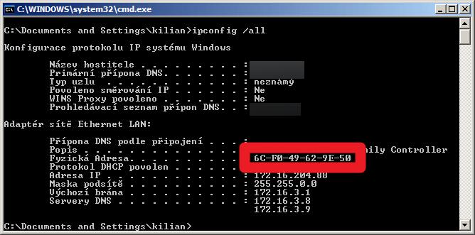 Zjištění MAC adresy pod Windows