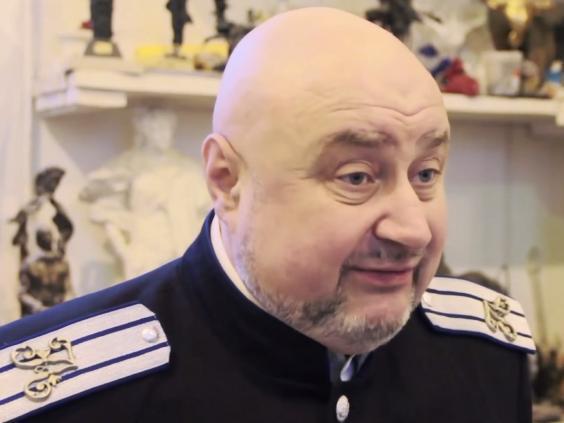 Ataman pravoslavného svazu kozáků Irbis v Petrohradu Andrej Poljakov