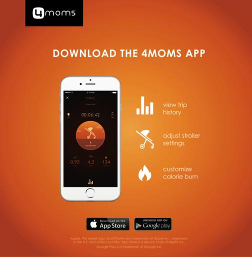 Aplikace pro chytrý telefon umí zobrazit historii výletů, spálené kalorie, ale také upravit nastavení kočárku