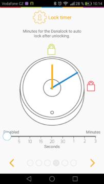 Chytrý zámek Danalock – aplikace, nastavení,  automatický zámek