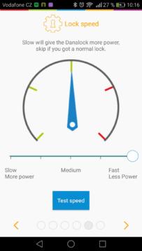 Chytrý zámek Danalock – aplikace, nastavení,  rychlost