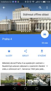 Google Mapy – trik, offline 3