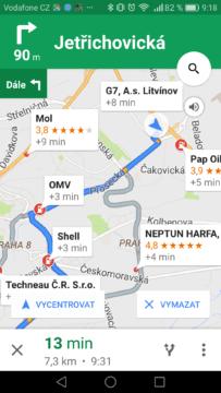 Google Mapy – trik, vyhledávaní okolo trasy 2